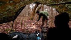 Setting up a bushcraft camp