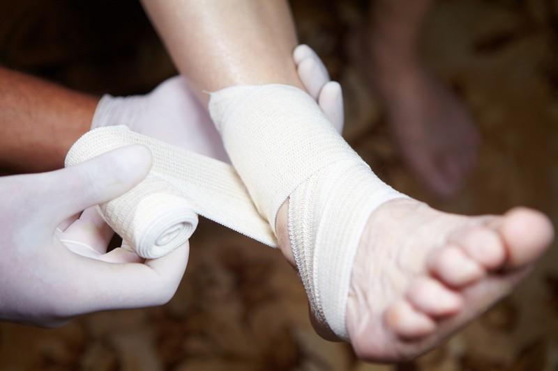 bandaging up a foot