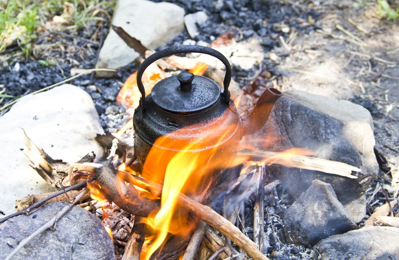 tea kettle on fire