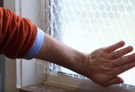 bubble wrap against window