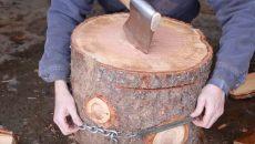 splitting firewood