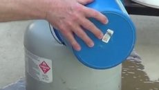 Pouring Water on Propane Tank