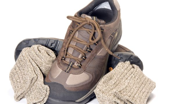 hiking boots with socks