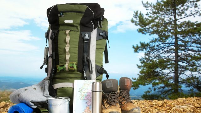 hiking pack and supplies