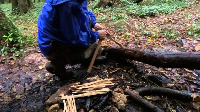 starting a fire on a rainy day
