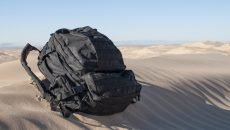 backpack in desert