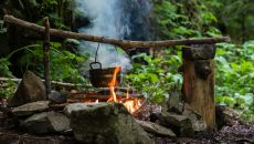 cooking at campfire