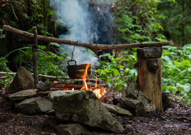 cooking at campfire