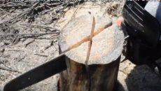 using chain saw on wood