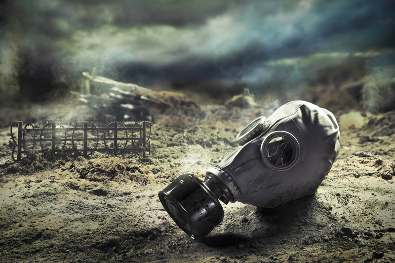 gas mask in war zone