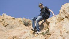 teen hiking in the wild
