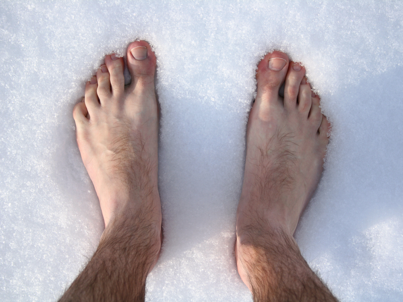 bare feet in the snow