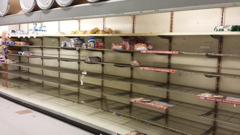 empty bread shelves